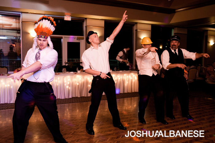 YMCA performance at NWI wedding reception photographed by Chicago wedding photographer Joshua Albanese
